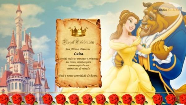 Convite Animado A Bela E A Fera