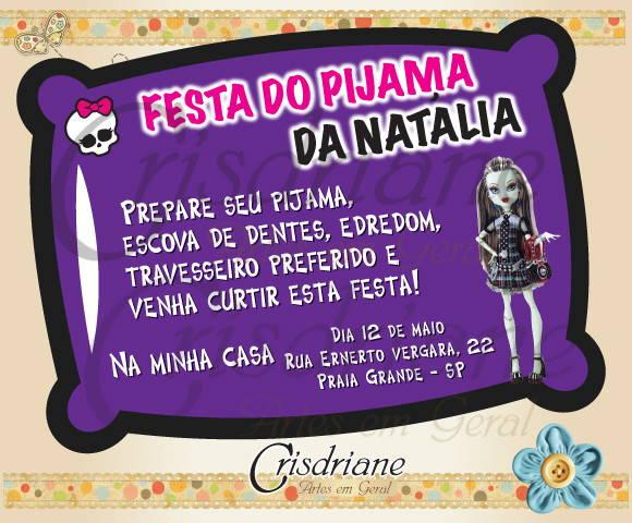 Convite Almofada Roxo Monster High No Elo7