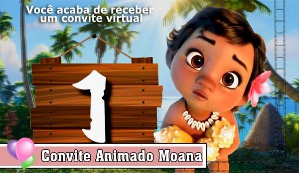 Convite Animado Moana Baby No Elo7