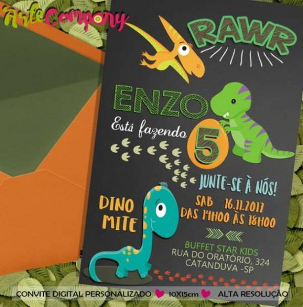 38 Convites De Dinossauro Impressionantes! – Modelos De Convite