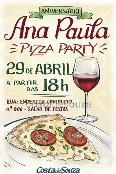 Convite Para Aniversário Com Tema Pizza Party