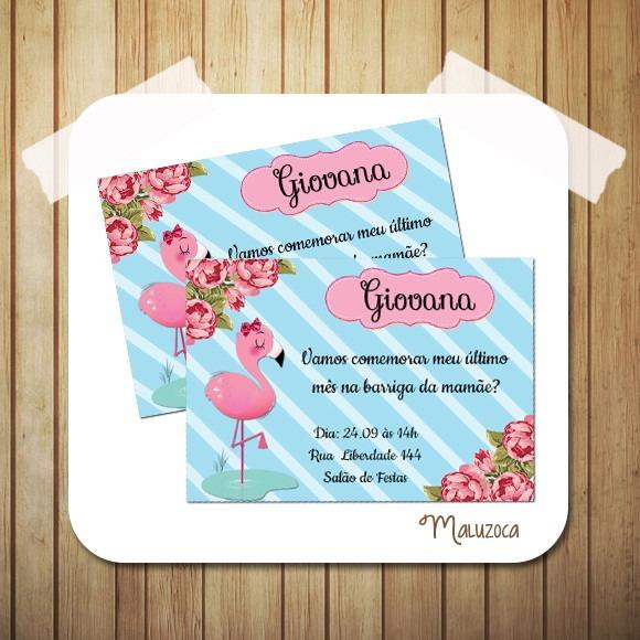 Convite Flamingo Chá Bebê No Elo7