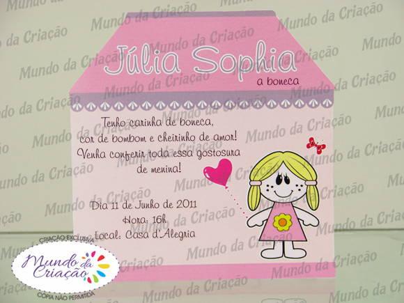 Convite Casinha De Bonecas No Elo7