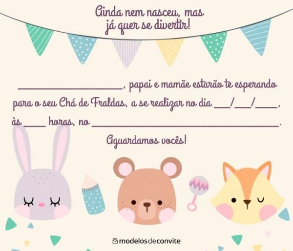 Convite Para Chá De Bebê Virtual  +60 Convite Chá De Fraldas