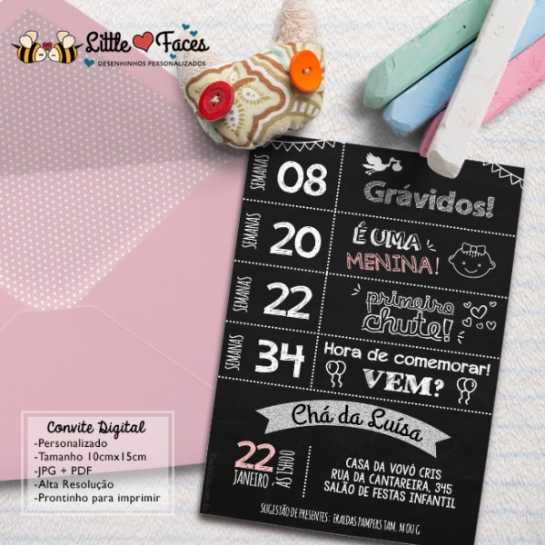 Convite Chalkboard Chá De Bebê Lousa No Elo7