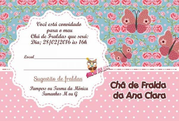Convite Chá De Fraldas (arte) No Elo7