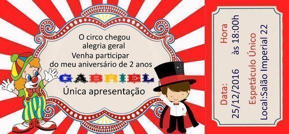 Convite Circo Ingresso 14x6,5 Festas