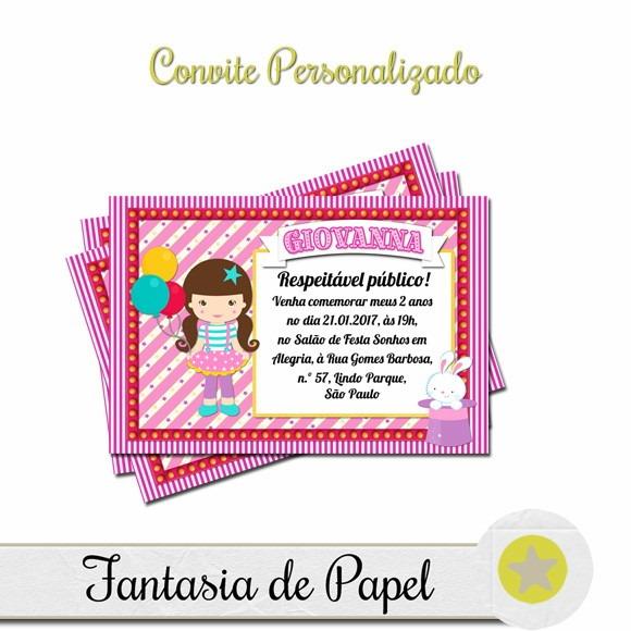 Convite Circo Rosa No Elo7