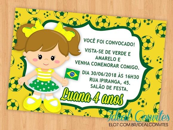 Convite Copa Do Mundo Brasil Menina