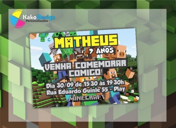 Convite De Aniversário Minecraft No Elo7