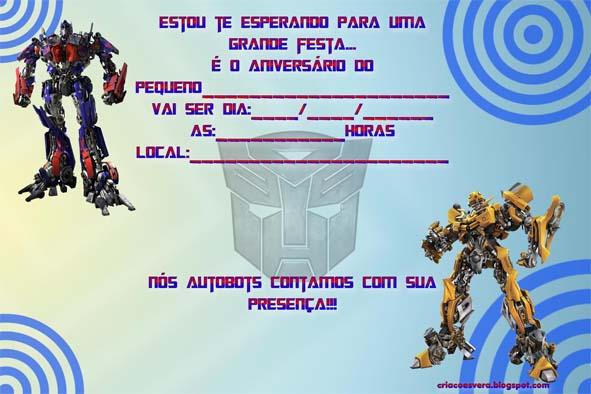 Convite De Aniversario Transformers Para Imprimir 2 » Happy