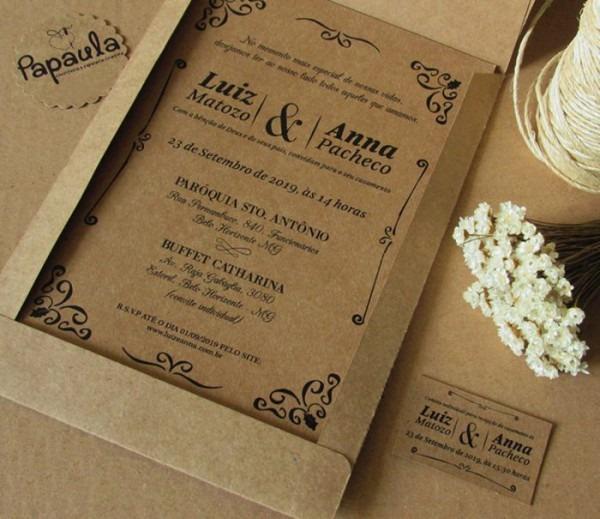 Convite De Casamento Rústico  37 Ideias Simples E Elegantes