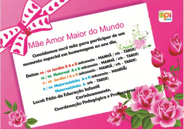 Colégio Cpi – Educação Infantil – Convite – Dia Das Mães