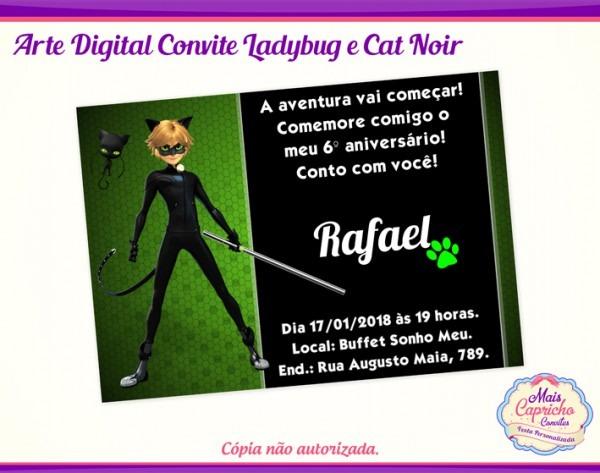 Convite Digital Cat Noir No Elo7