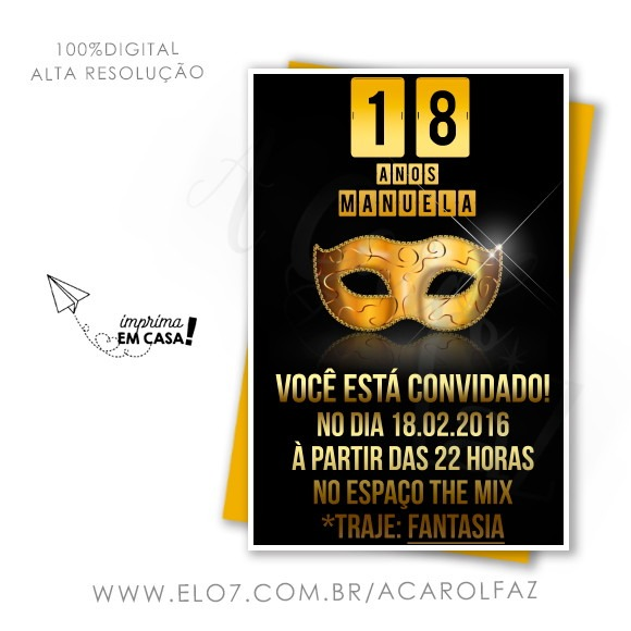 Convite Digital Feminino 12 No Elo7