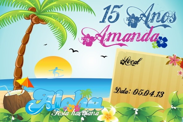 Convite Digital Festa Havaiana No Elo7