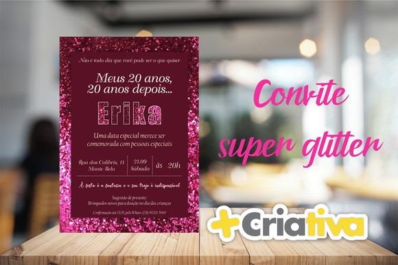 Convite Com Glitter