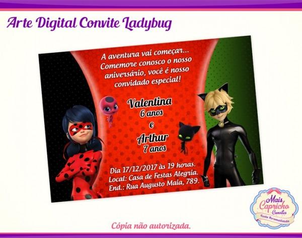 Convite Digital Ladybug E Cat Noir