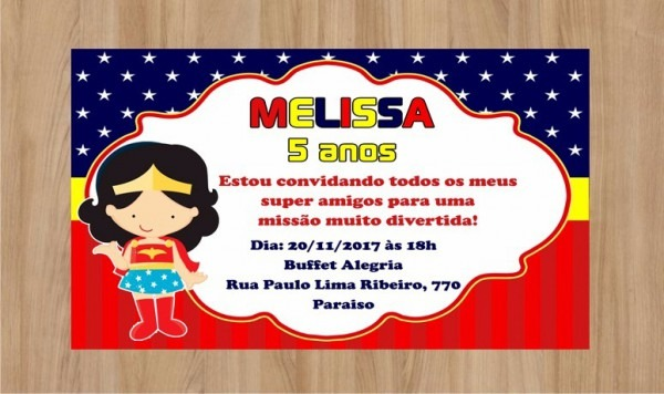 Convite Digital Personalizado Mulher Maravilha