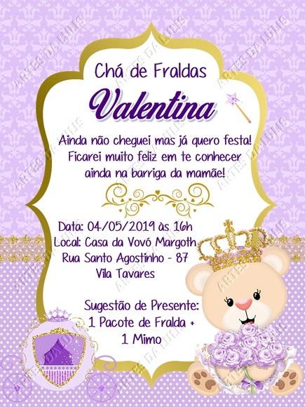 Convite Digital Ursinha Princesa Lilás No Elo7