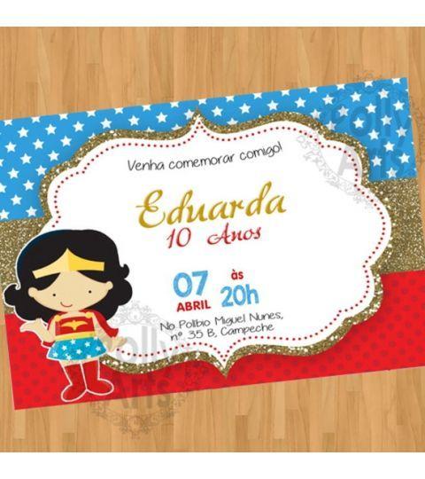 Convite Digital Virtual Mulher Maravilha