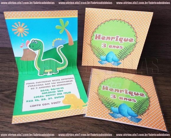 Convite Dinossauros 3d