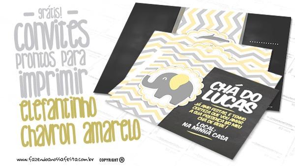Convite Elefantinho Amarelo E Cinza Chevron Grátis Para Imprimir