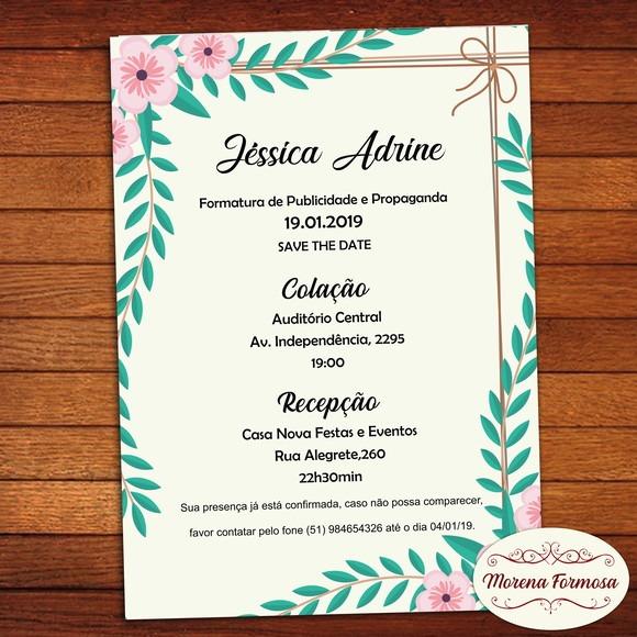 Convite De Formatura Floral No Elo7