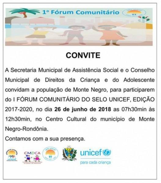 Convite  I FÓrum ComuniÁrio Do Selo Unicef, Em Monte Negro