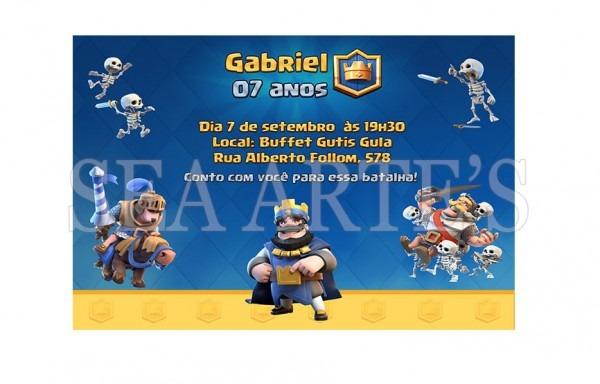 Convite Impresso (10x7cm) Clash Royale No Elo7
