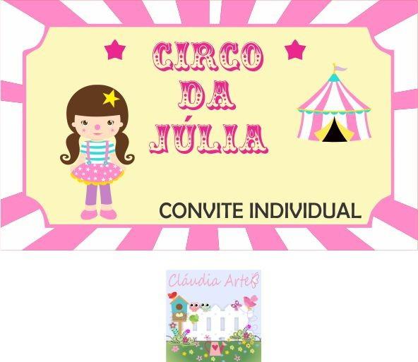 Convite Individual Circo Rosa No Elo7