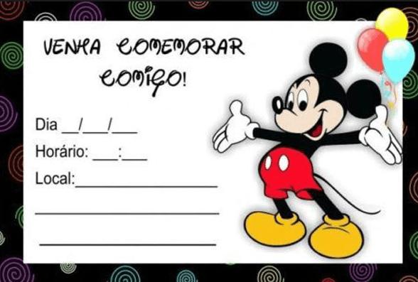Convite Mickey  67 Ideias De Convite Para Se Inspirar E Imprimir!