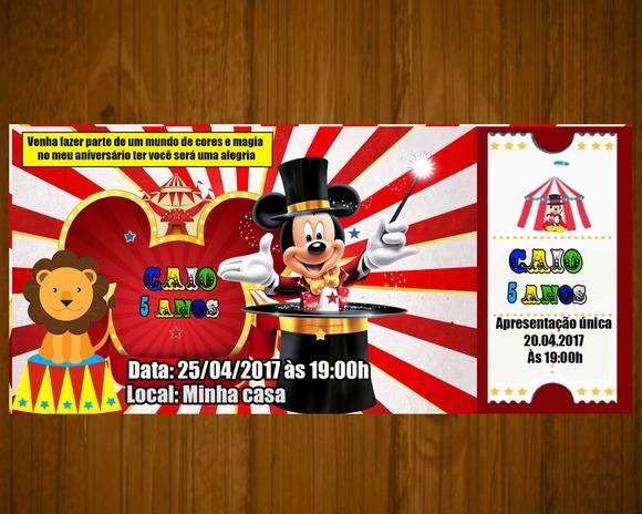Convite Mickey Circo