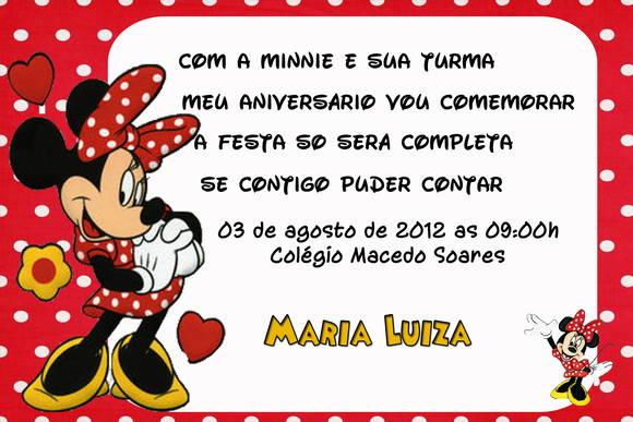Convite Minnie I No Elo7