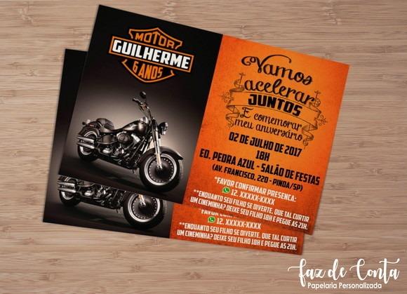 Convite Moto No Elo7