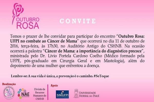 Picos  Convite Para Ações Alusivas Ao Outubro Rosa
