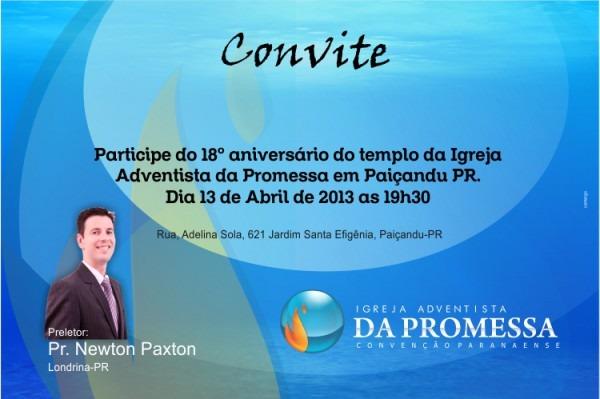 Convite 18° Aniversário Iap Em Paiçandu