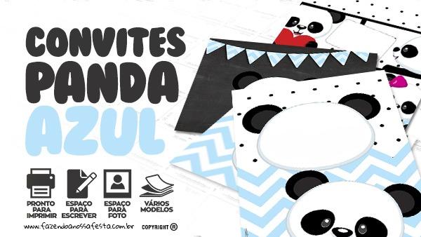 Convite Panda Menino Azul Grátis Para Baixar E Imprimir Em Casa