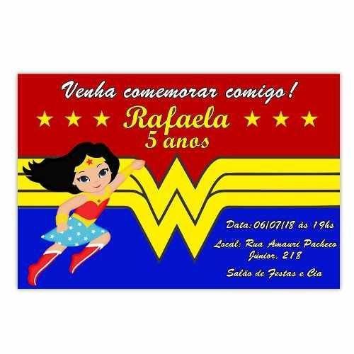 Convite Personalizado Mulher Maravilha 15x10
