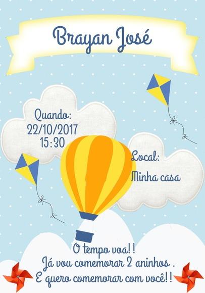 Convite Pipa Balao E Catavento