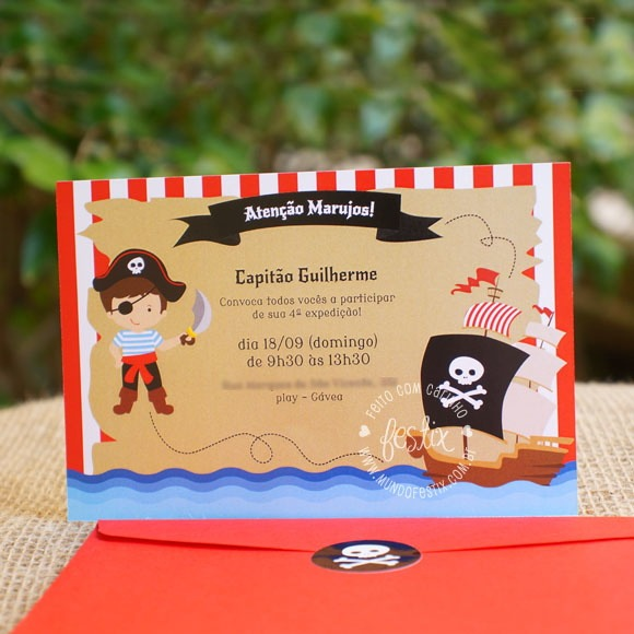 Convite Pirata No Elo7