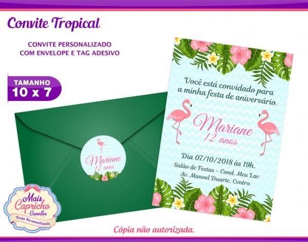 Convite Tropical Flamingo No Elo7