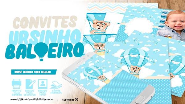 Convite Festa Ursinho Baloeiro Para Editar E Imprimir