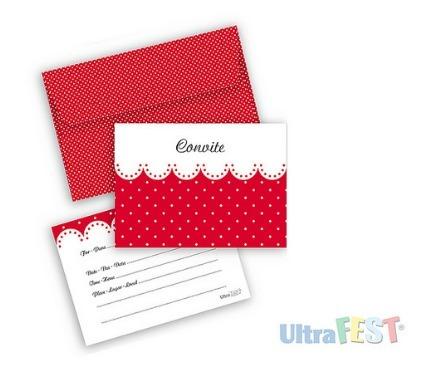 Convite Vermelho Poá Branco C  Envelope