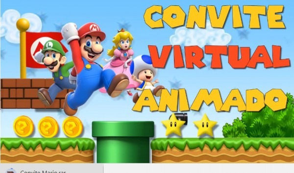 Convite Virtual Animado Para Whatsapp Super Mario Em Vídeo