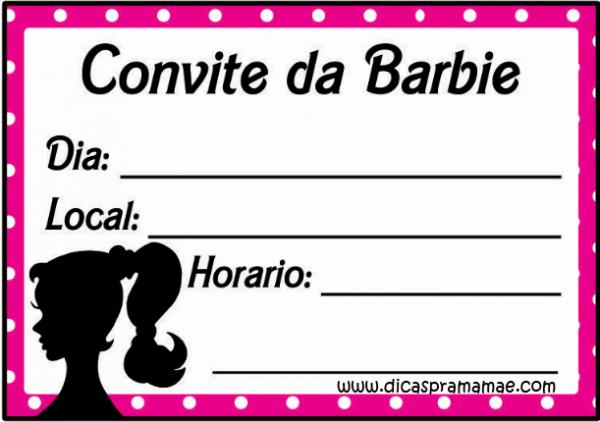 Convite Gratuito Para Festa Da Barbie