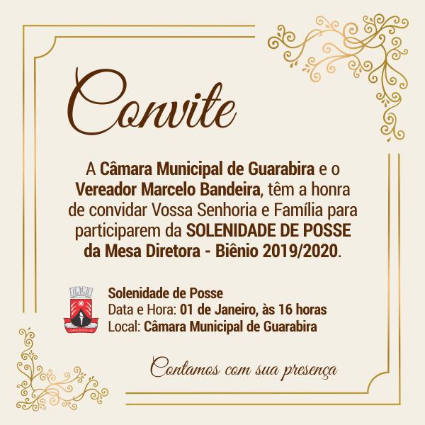 Convite  Solenidade De Posse Da Mesa Diretora – Biênio 2019 2020