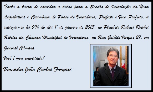 Fornari News  Convite De Posse Do Vereador Fornari