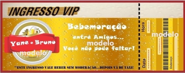 50 Convites Ingresso Chá Bar Brahma Festa Personalizado
