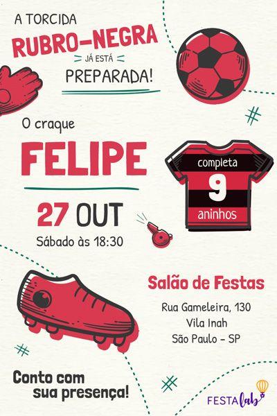 Faça Seu Convite Flamengo! Com A Festalab é Fácil Editar Seu